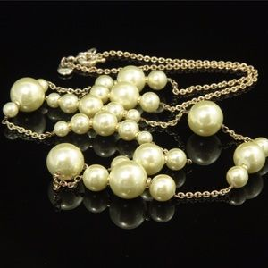 J Crew Pearl & Gold Chain Necklace Layered